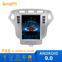 Tesla style Android 9 PX6 Car DVD Player GPS Navigation For Ford Mondeo MK4 2007 2010 Car Auto Stereo HeadUnit Multimedia Player