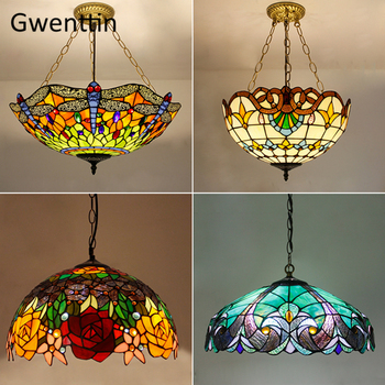 Mediterranean Tiffany Stained Glass Pendant Lights Vintage Hanging Lamp for Dining Room Kitchen Light Fixtures Home Art Decor vintage glass pendant lights american industrial loft hanging lamp bedroom lamp dining room lights e27 home decor light fixtures