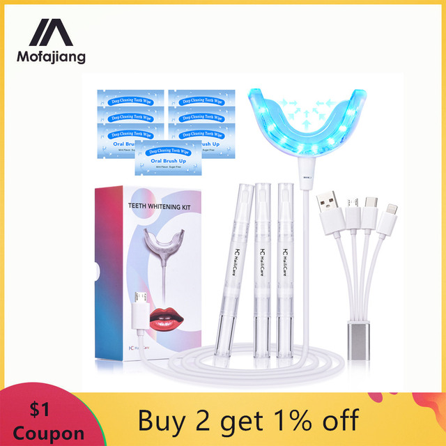 Teeth Whitening Kit Blue Light Dental Whitening Gel 16 LEDs  Whiter Teeth Tooth Whitening Pens Dropship Teeth Bleaching System