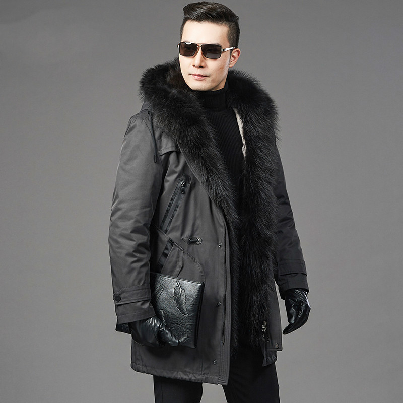 Real Fur Coat Natural Rabbit Fur Liner Raccoon Fur Collar Parka Jacket Plus Size Jackets Men Casual Warm Parkas NZ725 YY615