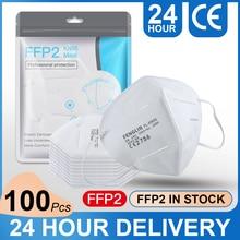 100 Pcs FFP2Masks Face Masks For Adults 5 Layers Comfortable Breathable KN95 Masks Against Dusts Allergens Fog Haze