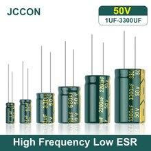 JCCON-condensador de aluminio de alta frecuencia baja ESR 50V 1UF 100UF 10UF 22UF 47UF 4,7 UF 100UF 220 resistencia supercondensador, 15-330 Uds.