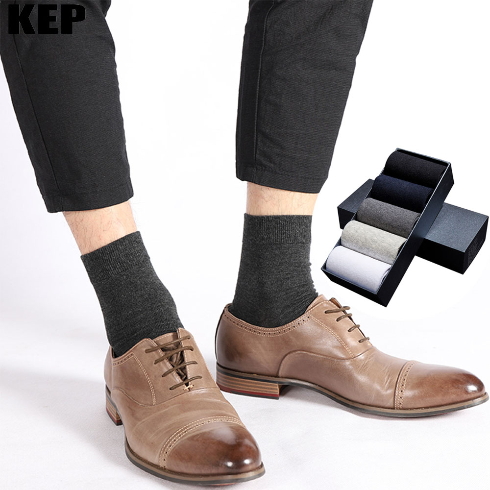 Men Socks Casual Business Cotton Brand Crew Black White Gray Long Male Socks 2019 New Warm Autumn Winter Breathable Classic Sock