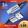Ugreen Cable Micro USB 3A Nylon carga rápida Cable de datos USB para Samsung Xiaomi LG Tablet Android Teléfono Móvil Cable de carga USB