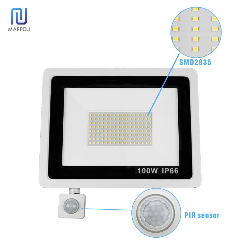 Reflector Floodlight Motion Sensor LED Floodlight Waterproof Outdoor Wall Garden 10W 20W 30W 50W 100W 220V LED Spotlight Lamp 4