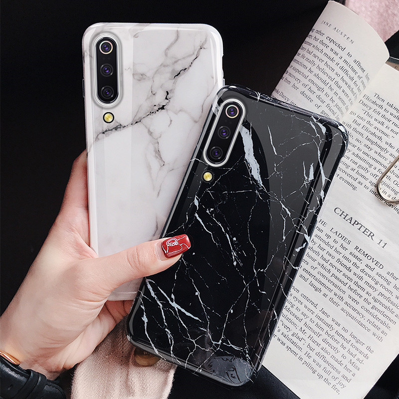 For Xiaomi mi 9T 9 Marble Case Soft Silicone IMD Cover for 8 lite Luxury Glossy Funda Coque