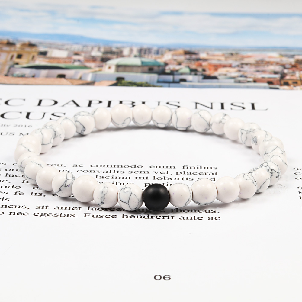 Hot Trendy Men Lava Stone Couples Distance Bracelets Natural Stone White Black Yin Yang Beaded Bangles For Women Friend Pulseira 2