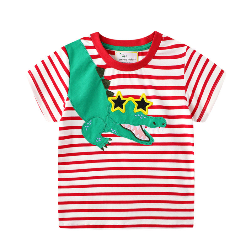H6ae7db502edb4f1d80e3976fa9e1bdf1b jumping meters Baby Boys Cartoon T shirt Kids New Tees Short Sleeve Summer Clothes With Printed Dinosaurs Children T shirts