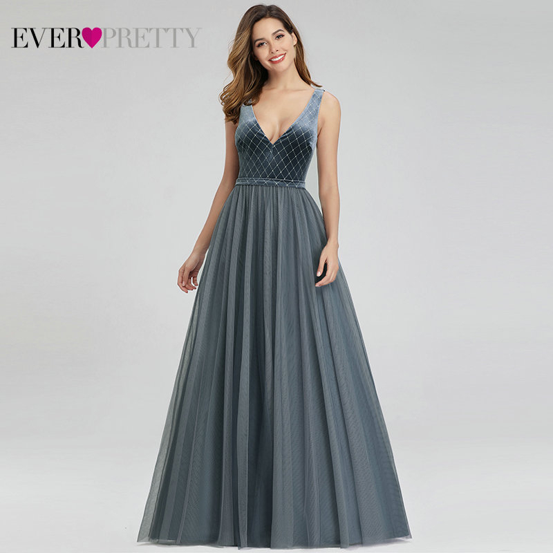 Robe De Soiree Ever Pretty Dusty Blue Evening Dresses Velour V-Neck Elegant Sparkle Formal Dresses EP00999DN Vestido Comprido
