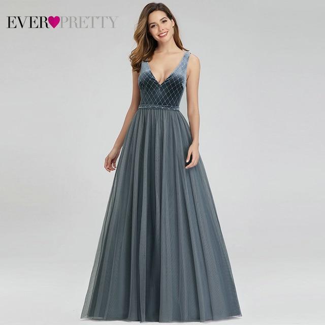 فساتين سهرة من Robe De Soiree Ever جميلة باللون الأزرق المغبر القطيفة على شكل حرف v فساتين رسمية أنيقة متألقة EP00999DN Vestido Comprido