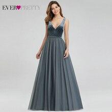גלימת דה Soiree אי פעם די מאובק כחול ערב שמלות קטיפה V צוואר אלגנטי Sparkle פורמליות שמלות EP00999DN Vestido Comprido
