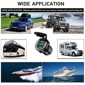 Image 2 - 12V/24V 18W Aluminum Waterproof Dual QC3.0 USB Fast Charger Socket Power Outlet with LED Digital Voltmeter for Car Marine Boat