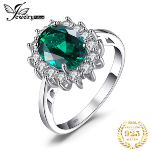 Image 1 - JewPalace Princess Diana Simulated Emerald Ring 925 Sterling Silver Rings for Women Engagement Ring Silver 925 Gemstones Jewelry
