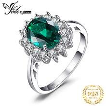 Jewpalaceダイアナ妃模擬エメラルドリング 925 スターリングシルバー女性の婚約指輪シルバー 925 宝石ジュエリー