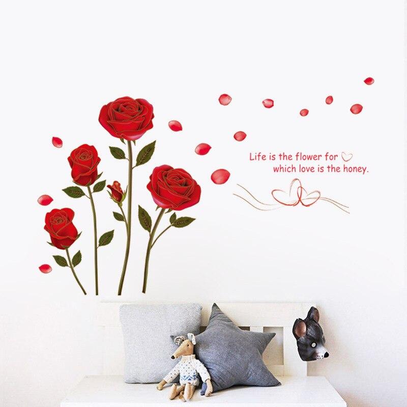Pegatina romántica de pared de rosas rojas para dormitorio, sala, sofá, Fondo para hogar, decoración arte, Mural, pegatinas de flores para pared