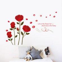 Romantik kırmızı gül duvar Sticker yatak odası oturma odası kanepe arka plan ev dekorasyon duvar sanatı çıkartmaları çiçekler duvar çıkartmaları