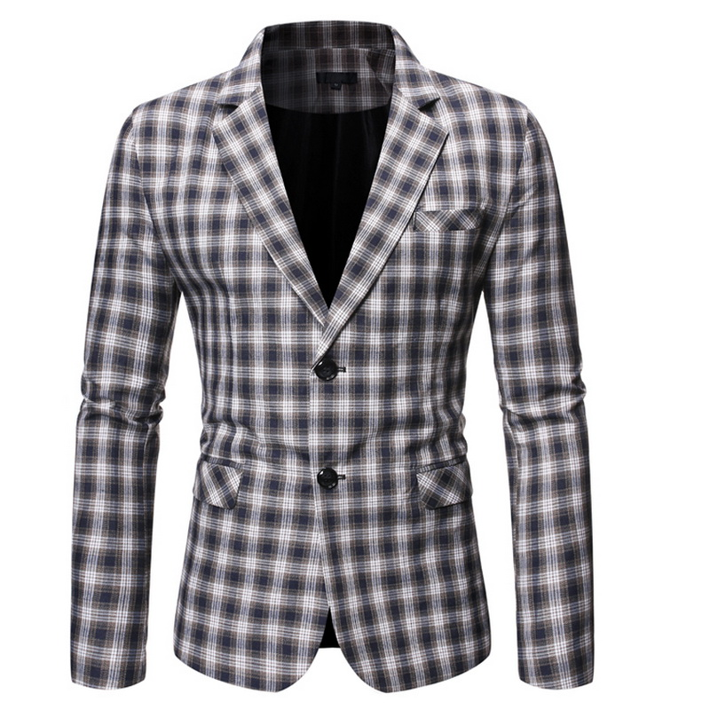 Spring Autumn Luxury Blazer 2019 Casual Business Cotton Slim Fit Suit Jacket Men'S Plus Size M-5XL Plaid Blazer