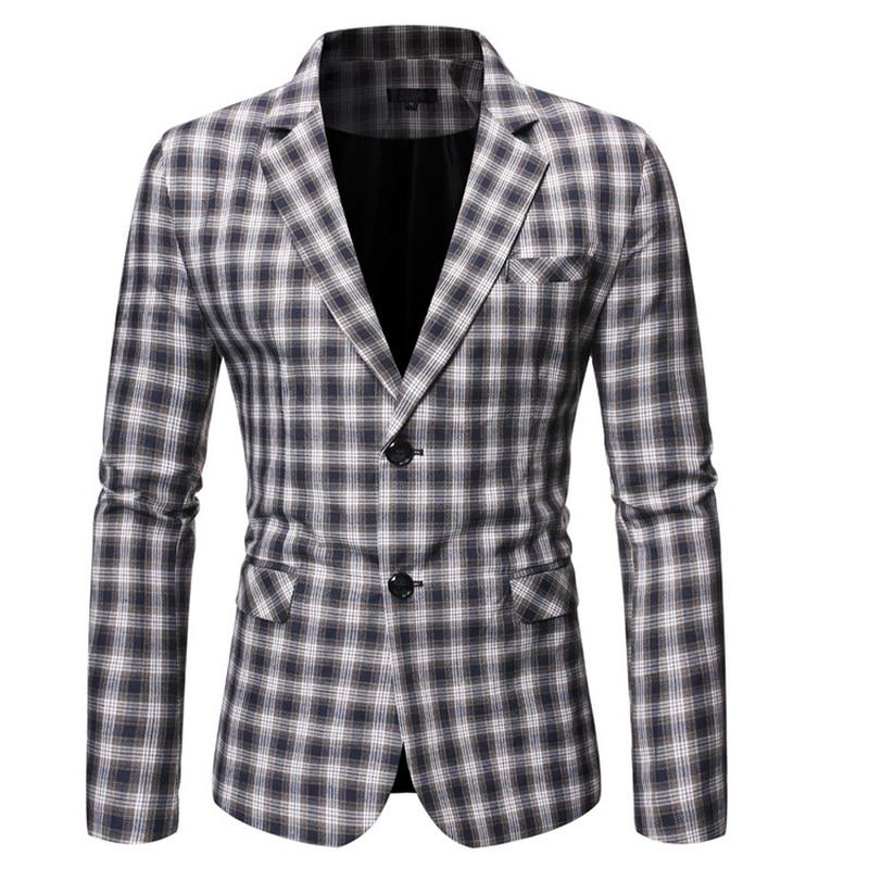 Spring Autumn Luxury Blazer 2019 Casual Business Cotton Slim Fit Suit Jacket Men'S Plus Size M-5XL Plaid Blazer