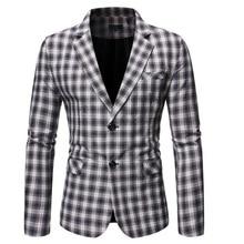 Spring Autumn Luxury Blazer 2019 Casual Business Cotton Slim Fit Suit jacket Men