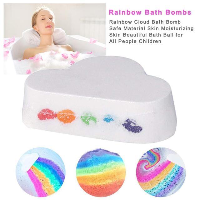 1Pcs Handmade Bath Salt Ball Natural Skin Care Rainbow Bath Ball Moisturizing Bath Salt Ball Body Essential Oil Bubble Bath 1