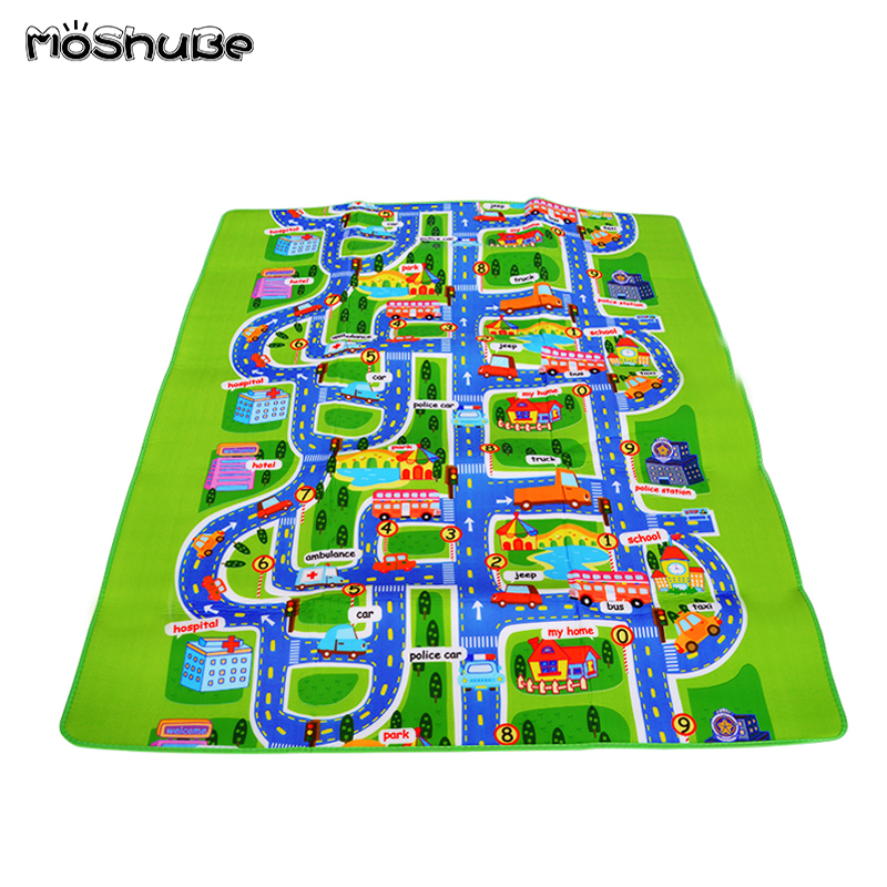 Foam Climbing Pad  Green Road 0.5 Cm / 0.3cm Thick Town City Traffic Baby Crawling Mat EVA Children's Play Mat Carpet For Baby