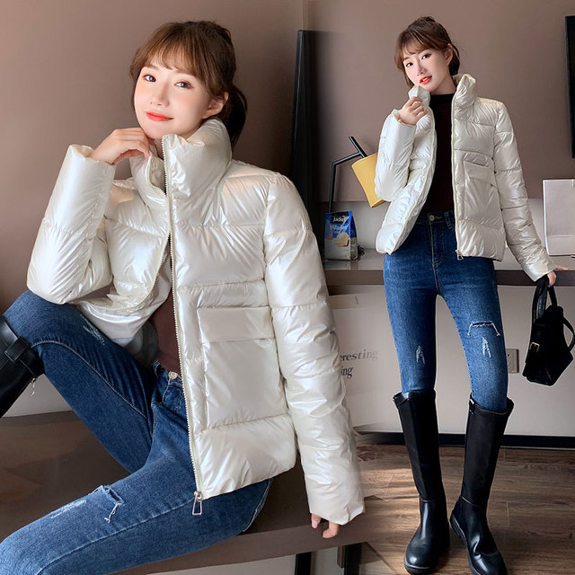 2021 Autumn Winter Women Parkas Jackets Casual Stand Collar Shiny fabric Thick Warm padded Coats Female Winter Outwear Jackets 5