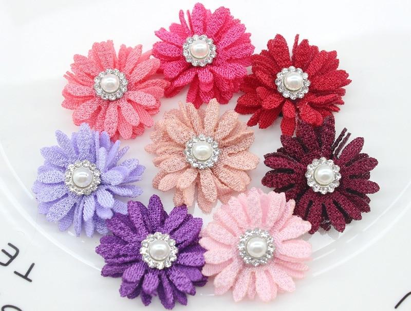 "200pc/lot 2020 Barnd New Mini 1.2"" Microfiber flower,DIY Fabric Flower with Rhinestone/pearl for Women Girls Hair Accessories"