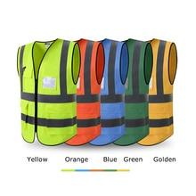 Высокая видимость светоотражающий жилет безопасности с карманами Спецодежда Безопасности рабочая одежда День Ночь raffic Предупреждение