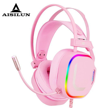Gaming Headsets USB Wired headphones PC PS4 Headsets Surround Sound RGB light HD Microphone Gaming Overear Laptop Tablet Gamer 1