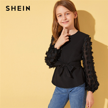 купить SHEIN Kiddie Black Solid Applique Mesh Bishop Sleeve Blouse With Belt Kids Tops 2019 Autumn Sheer Button Back Cute Blouse Tops в интернет-магазине