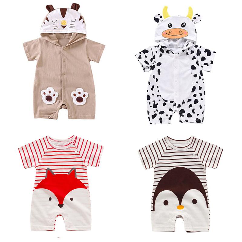 Infant jumpsuit summer romper animal print girl boy cotton suit newborn climbing cartoon rompers cheap stuff baby products 2021