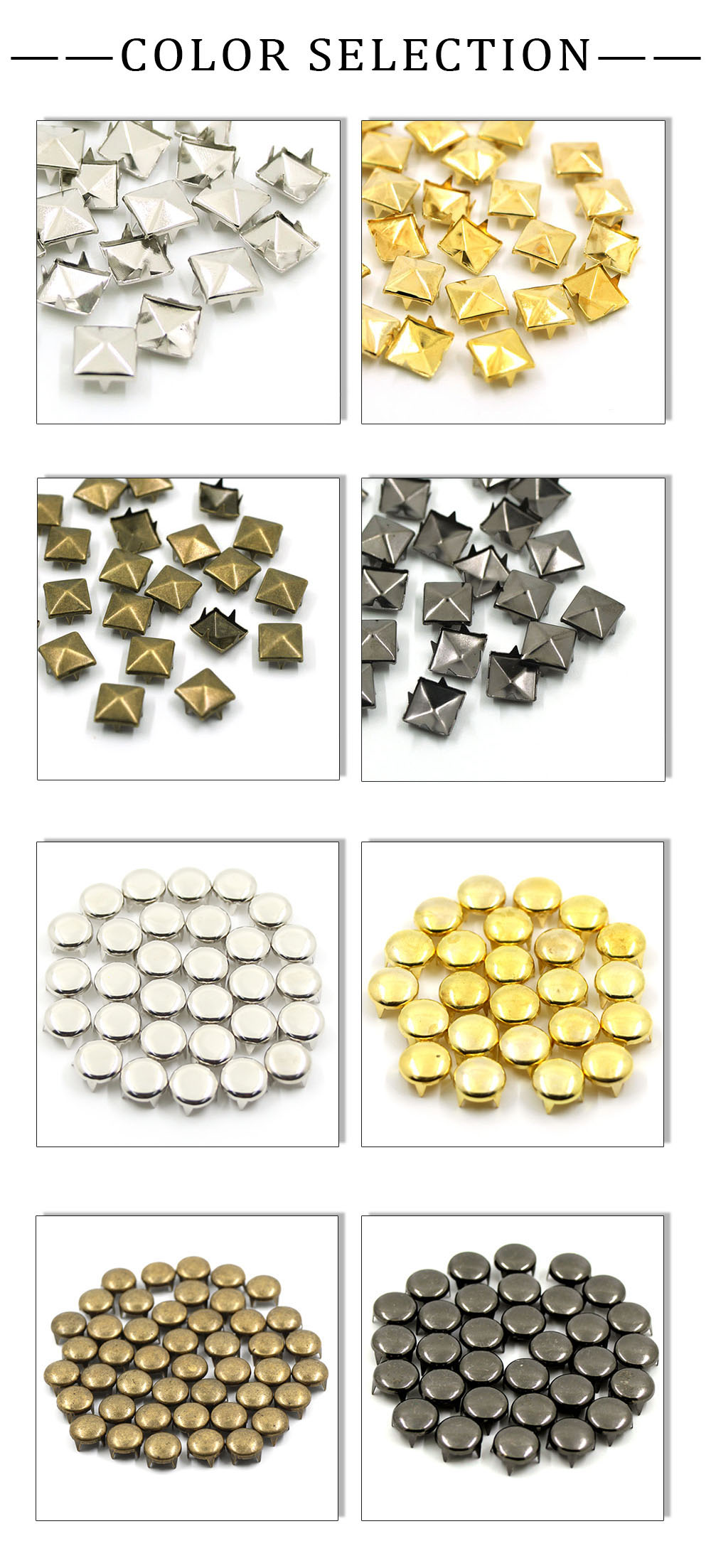 100pcs 6-12mm 4 rivets /à griffe carr/é//rond en m/étal clous /à pointes rivets pyramidaux pour pointes en cuir sur les v/êtements//chaussures//sacs//ceinture punk bricolage 6 mm bronze carr/é