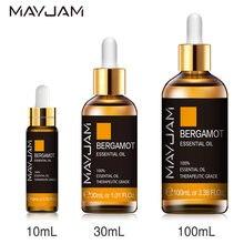 10ml 30ml 100ml óleo essencial de bergamota 100% óleos essenciais cítricos naturais óleo do aroma do difusor da ansiedade do alívio do escritório com conta-gotas
