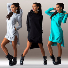 2019 Autumn And Winter  Sexy Fleece Hooded Wei Style Dress Female Dresses Womens Clothing