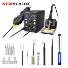 NEWACALOX ue 220V stacja lutownicza 750W opalarka 60W lutownica LCD cyfrowy 2 W 1 SMD Rework stacja spawalnicza Repair Tool