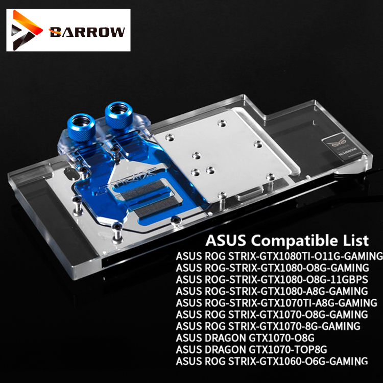 Barrow GPU Water Block ASUS GTX 1080TI/1080/1070/1060 Full Cover For ASUS ROG LRC RGB lighting BS-ASS1080T-PA image