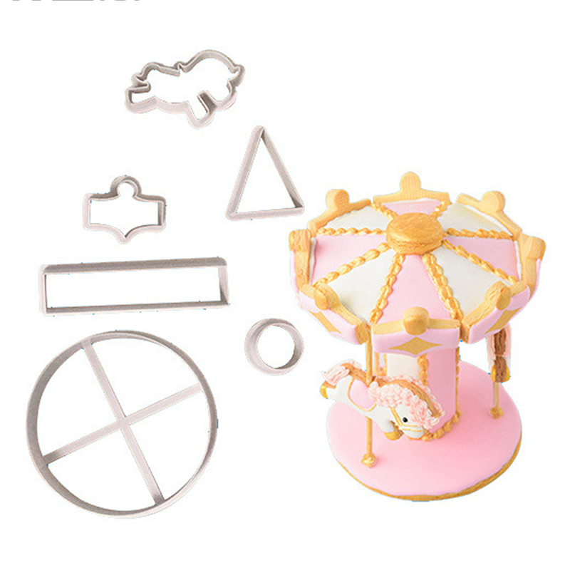 6Pcs Carousel Cookie Cutter Fondant Cake Decorating Tools Biscuits Cutter Mold Cake Topper Pastry Baking Mold Sugar craft