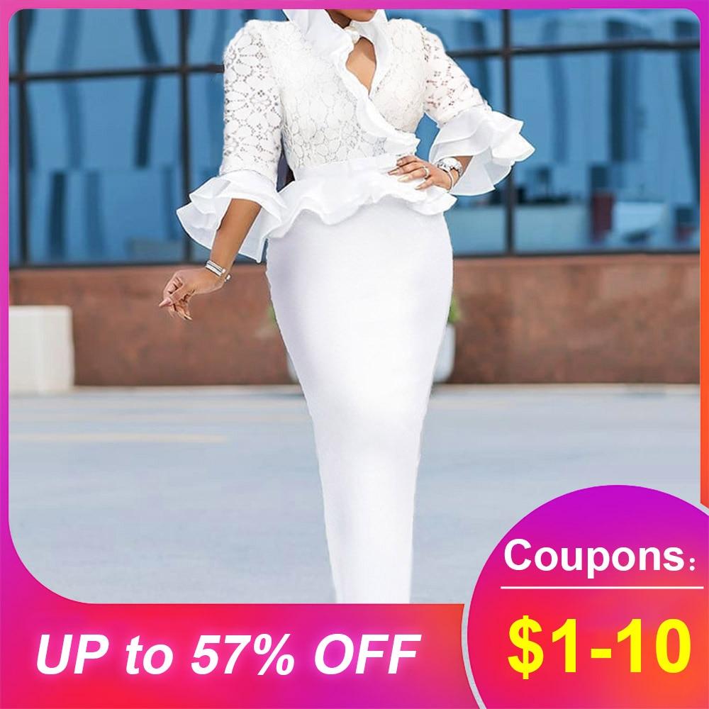 Elegant Lace Ptachwork Ruffle White Long Dress Bodycon African Style Sexy V Neck Maxi Robe Plus Size Party Dress Women Evening