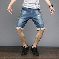 Summer Mens Plus Size 48 Knee Length Short Stretch Casual Loose Fit Denim Pockets Streetwear Jeans Bermuda Shorts