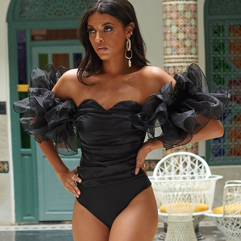 SEASONS 2020 Short Puff Sleeve Slash Neck Ruched Sexy Bodysuit Women Fashion Skinny Club Party Outfits Playsuit ASJU80384