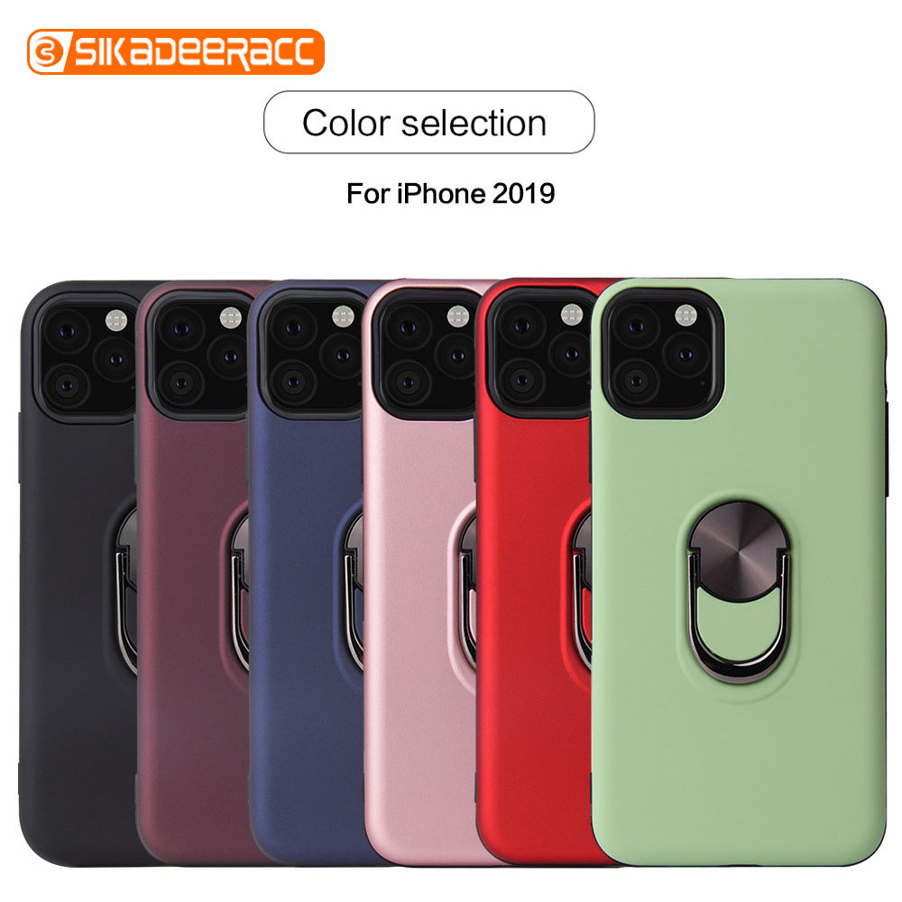 2 In 1 Ring Stand Holder Phone Case For iPhone X XR 6 6s 7 8 Plus XS Max 11 Pro Bracket Shockproof Portable Soft Business Simple