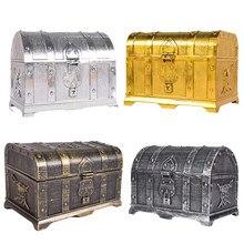 1pc retro caixa de tesouro com brinquedos de bloqueio para festa favores adereços decoração pirata caixa de jóias armazenamento organizador