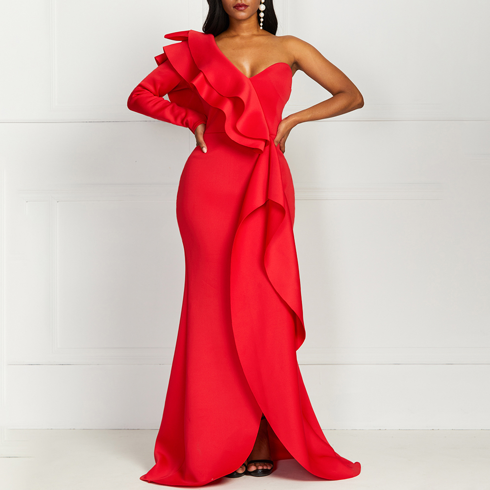 African Style Elegant Party Sexy Vintage Women Long Maxi Dresses One Shoulder Slim Bodycon Female Ruffles Red Dresses Plus Size