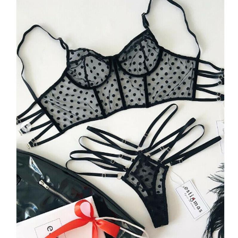 Womens Sexy/Sissy Lingerie Lace Babydoll G-String Underwear Bra Set Lady Fashion See-Through Adjustable Dot Underwear Exotic Set