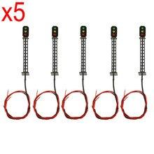 5 adet HO ölçekli modeli demiryolu 3 Light T149 blok sinyalleri G/Y/R 7.5cm 12V Led