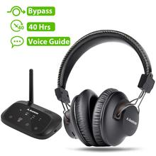 Avantree ארוך טווח אלחוטי אוזניות עבור טלוויזיה צפייה עם Bluetooth משדר, תמיכה אופטי, RCA, 3.5mm AUX, Plug & Play