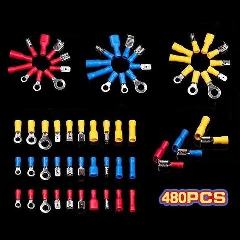 480 pces spade anel bala piggy misturado isolado conectores de fio eletrico terminais de friso