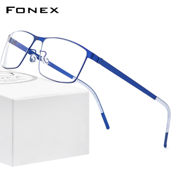FONEX Alloy Glasses Frame Men Square Myopia Optical Prescription Eyeglasses Frames 2020 New Male Korea Screwless Eyewear 997 acetate glasses frame men square prescription eyeglasses new women male nerd myopia optical clear spectacles eyewear fonex