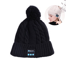 Fashion Beanie Hat Cap Nirkabel Bluetooth Earphone Smart Headset Speaker MIC Musim Dingin Outdoor Sport Musik Stereo Topi(China)