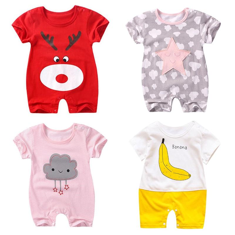 Infant Baby Boy Girl Cute Short Sleeve Cotton Jumpsuit Star Cloud Moon Print Rom